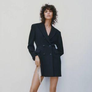 NWT Zara rhinestone tassel trim black blazer dress